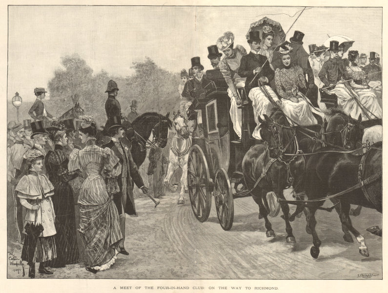 Associate Product A meet of the Four-in-Hand Club: on the way to Richmond. London. Society 1892