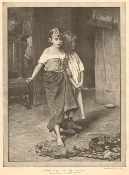 """Associate Product """"The gifts of the fairies"""", by Frank Holl. Children. Fine arts 1892 ILN print"""