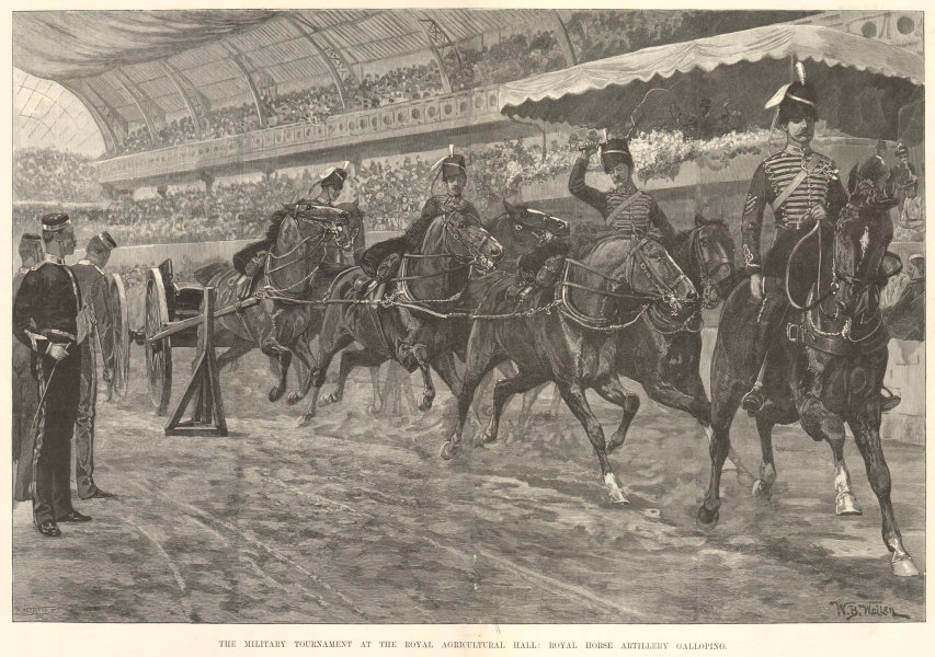 Associate Product Royal Agricultural Hall military tournament Royal Horse Artillery galloping 1893