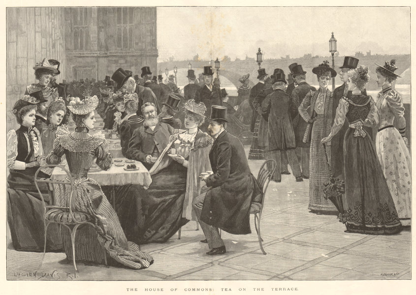 Associate Product The House of Commons: tea on the terrace. London. Society 1893 ILN full page