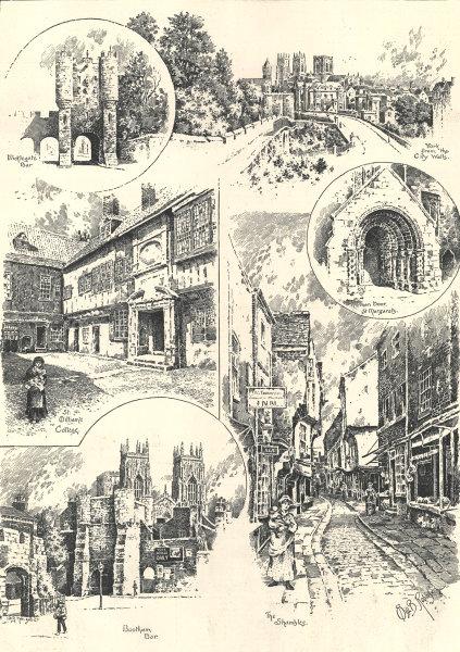 Associate Product York: Micklegate Bar St. Dilliam's College St Margarets Bootham Shambles 1893