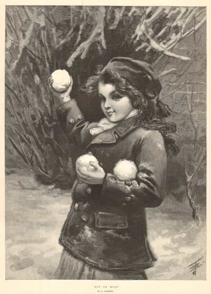 """Associate Product """"Hit or Miss"""" by A. Johnson. Children. Snowball fight 1894 ILN full page print"""