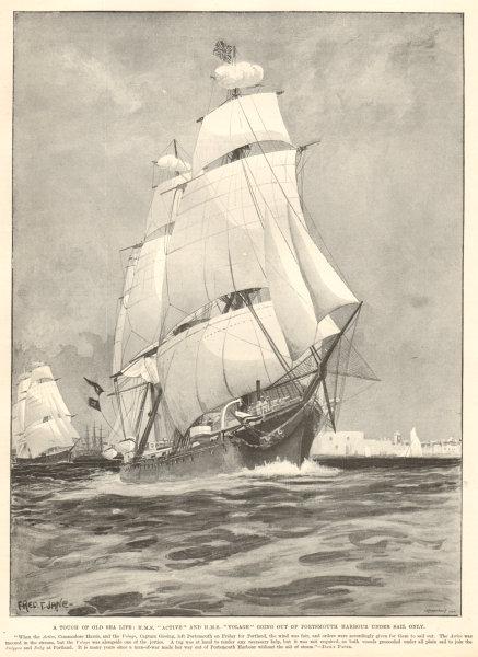 Associate Product HMS Active & HMS Volage leaving Portsmouth harbour under sail. Ships 1894