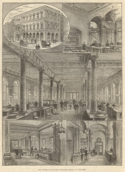 Associate Product New offices of the Atlas Assurance Company in Cheapside. London. Finance 1894