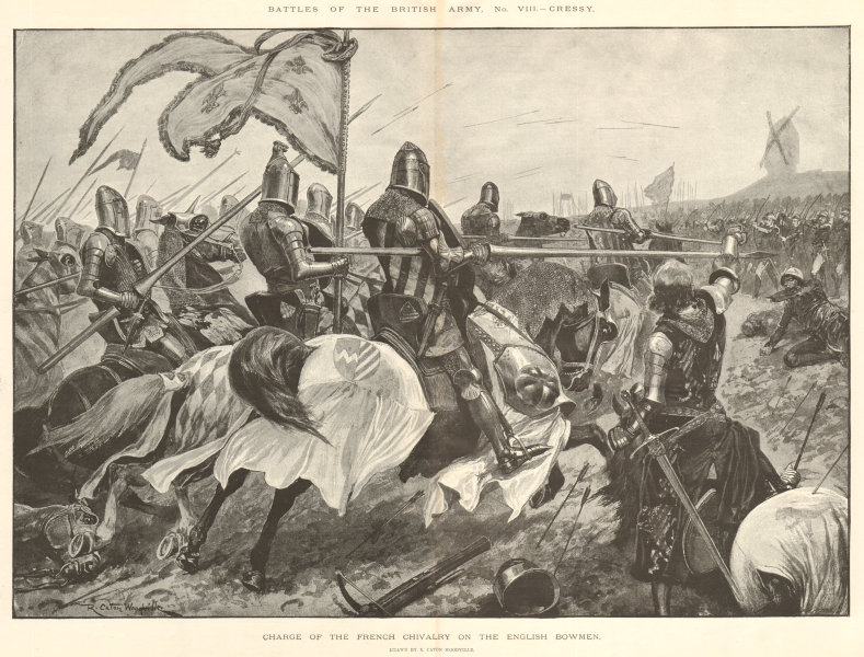 Associate Product Battle of Crecy 1346: French Cavalry charge on the English Bowmen Archers 1894