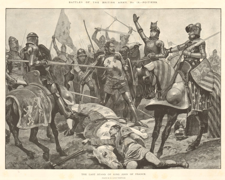 Associate Product Battle of Poitiers 1356: The last stand of King John of France 1894 ILN print