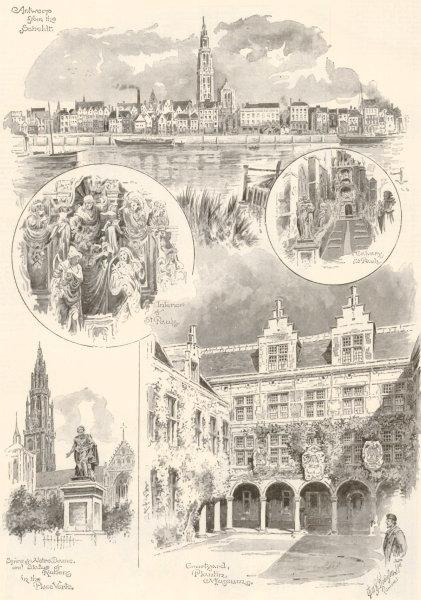 Associate Product Antwerp. Scheldt Calvary St Pauls Notre Dame Rubens Place Verte Plantin 1894