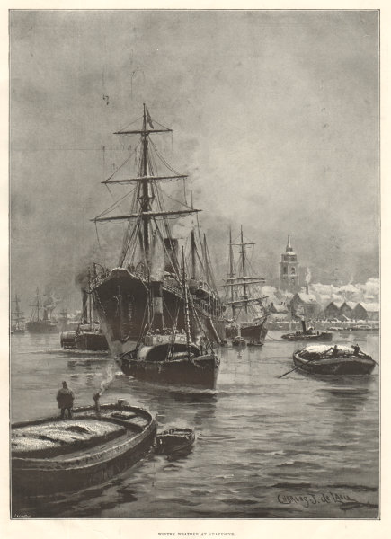 Associate Product Wintry weather at Gravesend. Kent 1895 antique ILN full page print