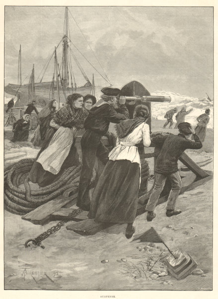 Associate Product Suspense. Family. Waiting for Fishermen to return in a storm 1895 ILN print