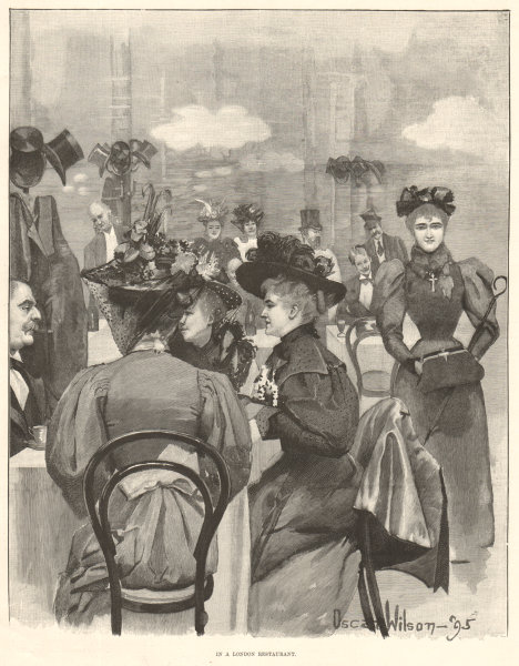 Associate Product In a London restaurant. Society 1895 antique ILN full page print