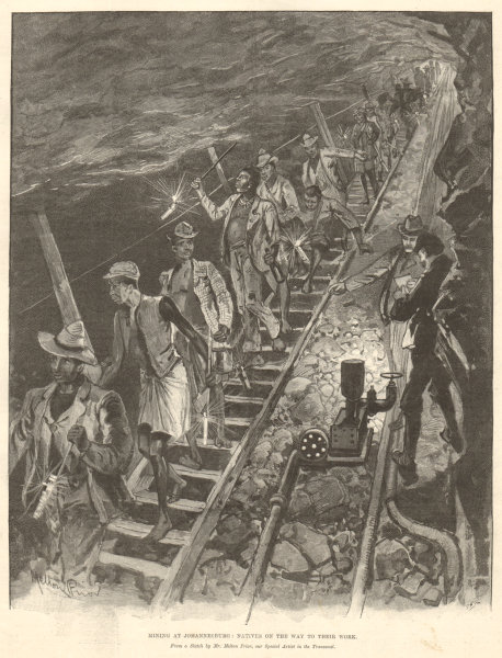 Associate Product Mining at Johannesburg: natives going to work. Transvaal. South Africa 1896