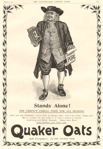 Associate Product Stands alone! The perfect cereal food for all seasons. Quaker Oats. ADVERT 1896