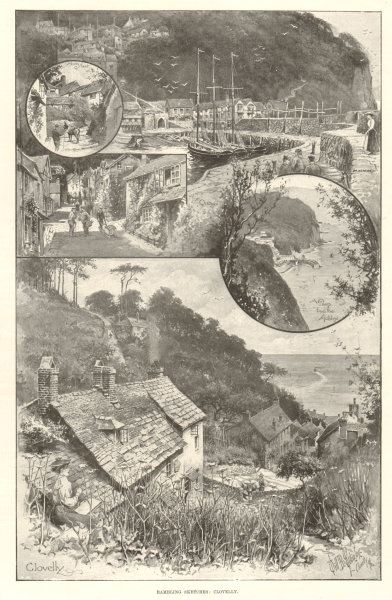 Associate Product Rambling sketches: Clovelly. Devon 1897 antique ILN full page print