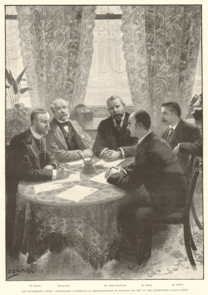 Associate Product Engineering strike negotiations, Westminster Palace Hotel. London 1897