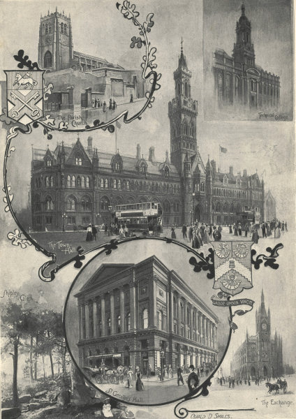 Associate Product Bradford: Sketches in the town & neighbourhood. Yorkshire 1898 ILN full page