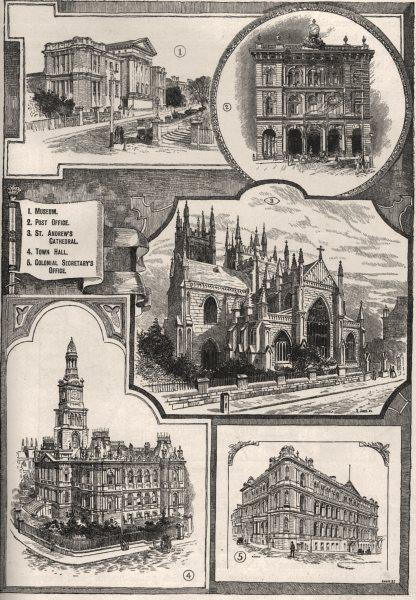 Associate Product Public Buildings of Sydney. Sydney. Australia 1890 old antique print picture