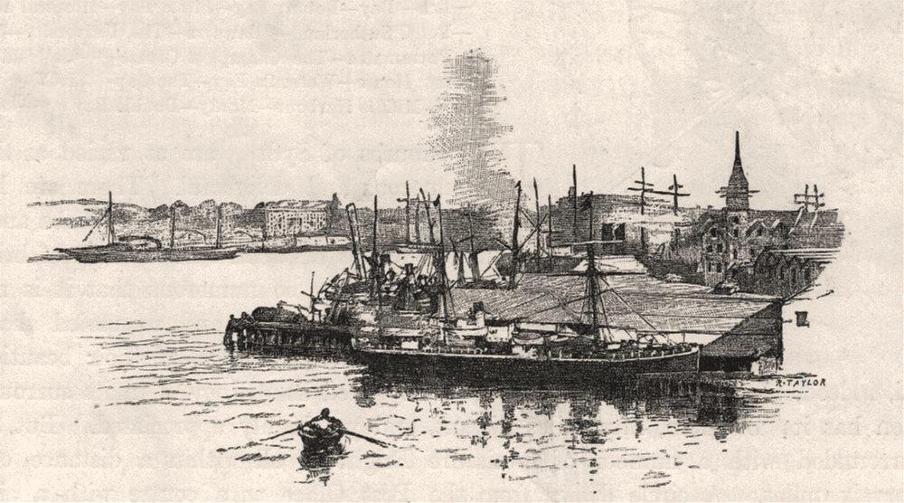 Associate Product The Circular Quay. Sydney. Australia 1890 old antique vintage print picture