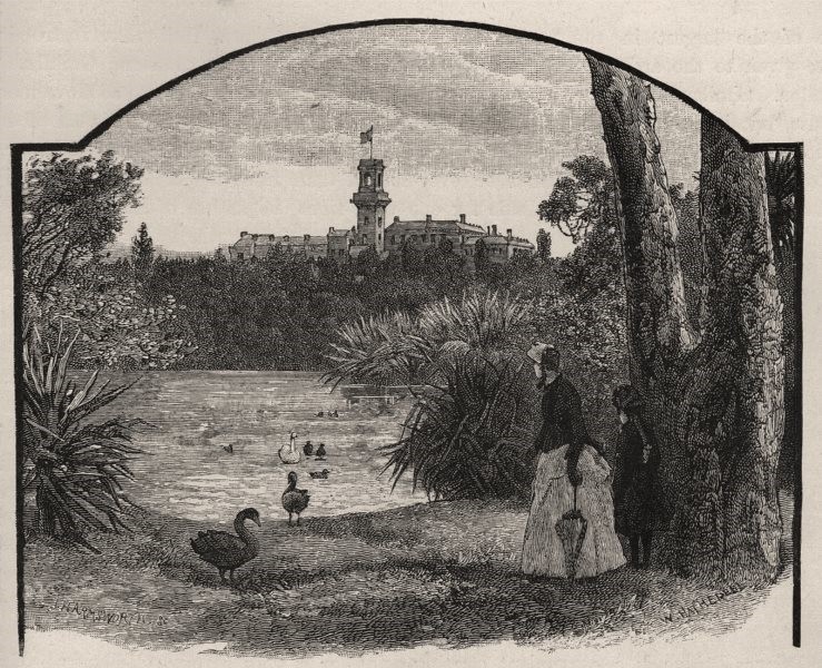 Associate Product Government House, from Botanical Gardens. Melbourne. Australia 1890 old print