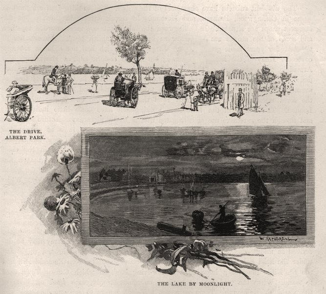 The Drive, Albert Park; The Lake by Moonlight. Melbourne. Australia 1890 print