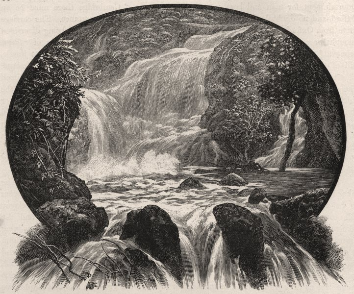 Waterfall at Wairoa. New Zealand 1890 old antique vintage print picture