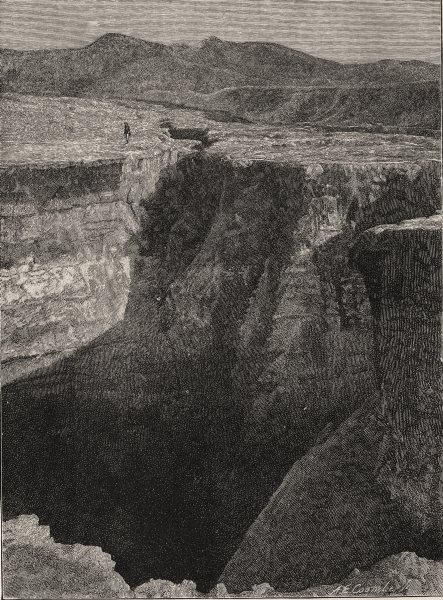 Associate Product Fissure in Road near Tikitapu Bush, after the Eruption. New Zealand 1890 print