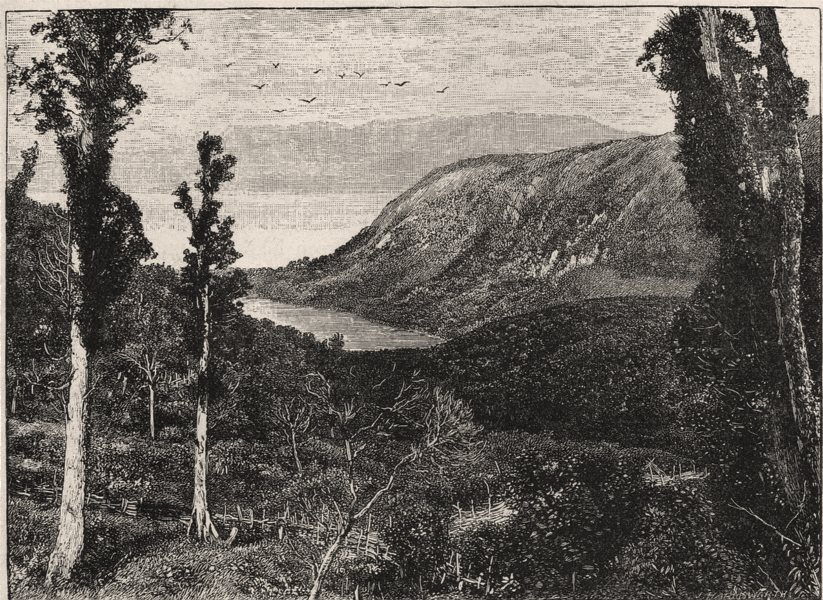 Associate Product Lake Tarawera before the Eruption. New Zealand 1890 old antique print picture