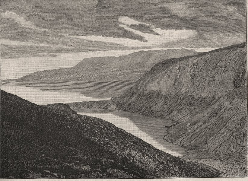 Associate Product Lake Tarawera after the Eruption. New Zealand 1890 old antique print picture