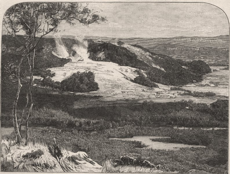 Associate Product The White Terrace, Rotomahana, before the Eruption. New Zealand 1890 old print