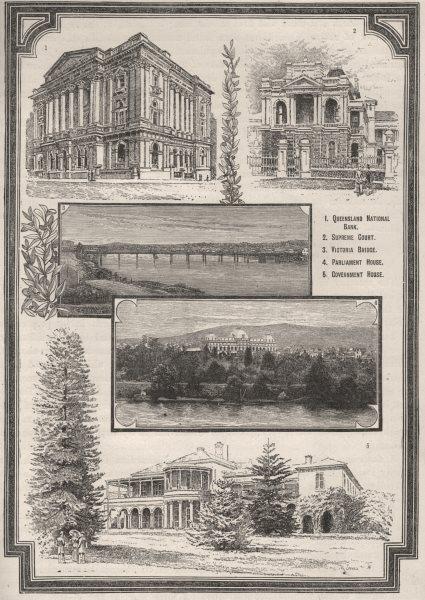 Associate Product Public Buildings of Brisbane. Brisbane. Australia 1890 old antique print