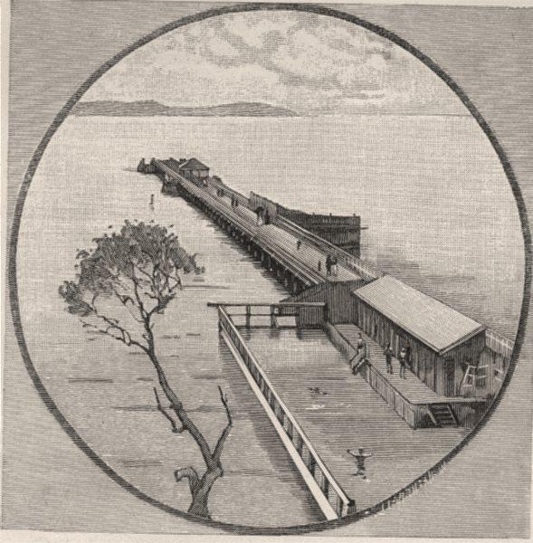Associate Product Sandgate Pier. Brisbane. Australia 1890 old antique vintage print picture
