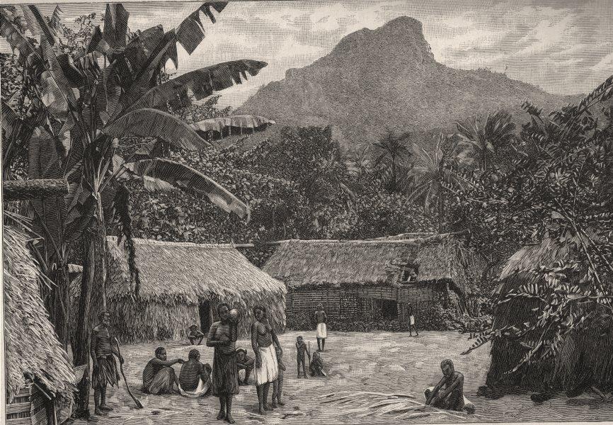 Associate Product A Fijian Village near Levuka. Fiji 1890 old antique vintage print picture