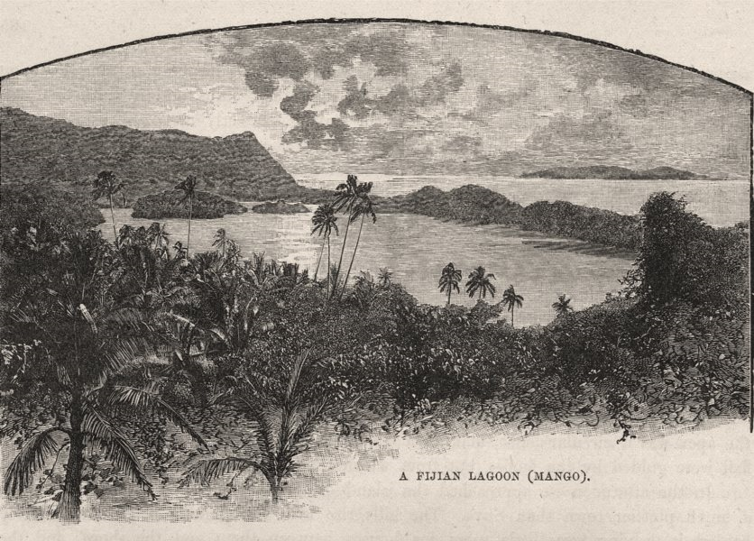 Associate Product A Fijian Lagoon, Mango. Yasawa-I-Lau. Fiji 1890 old antique print picture