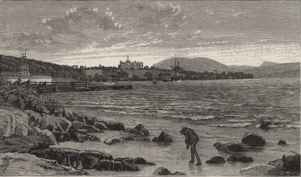 Associate Product Government House from Macquarie Point. Hobart. Australia 1890 old print
