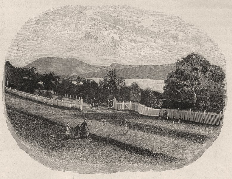 Associate Product Entrance to the Royal Society's Gardens. Hobart. Australia 1890 old print