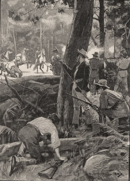 Associate Product Attack on the Gold Escort between McIvor and Melbourne. Gold. Australia 1890