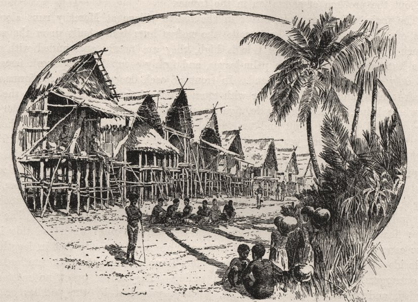 Associate Product Native Dwellings at Port Moresby. New Guinea 1890 old antique print picture