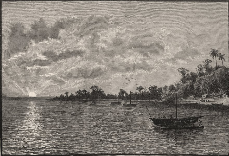 Associate Product Sunrise at York Island, Torres Straits. New Guinea 1890 old antique print