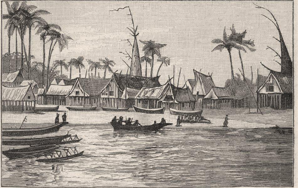 Associate Product Chiefs' Houses, Kerepuna. New Guinea 1890 old antique vintage print picture