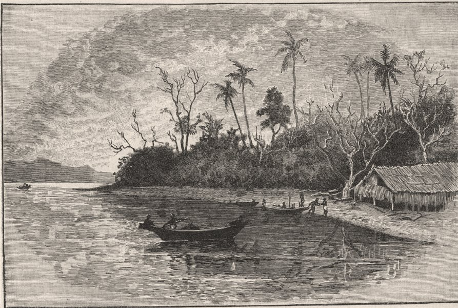 Associate Product Dinner Island. New Guinea 1890 old antique vintage print picture