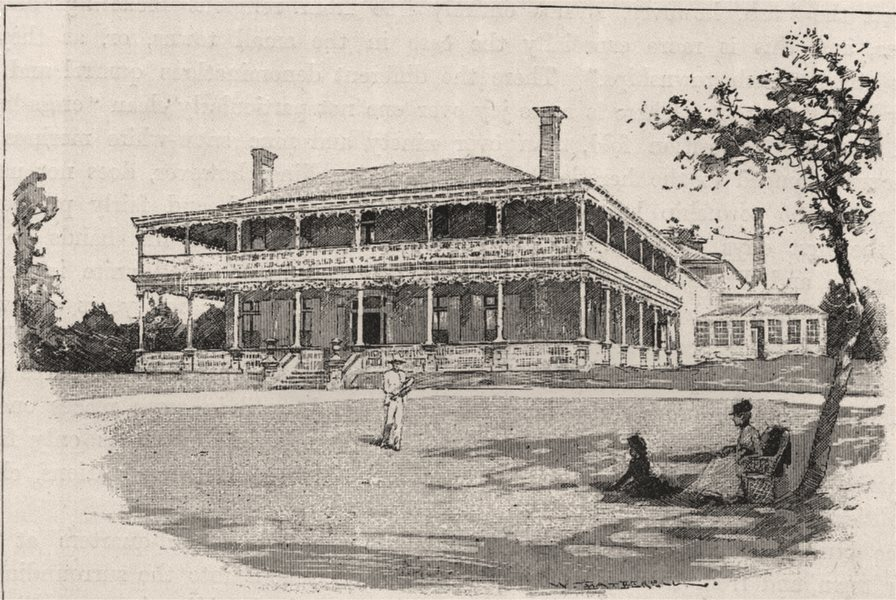 Associate Product A Two-storeyed House in the Bush. Australia 1890 old antique print picture