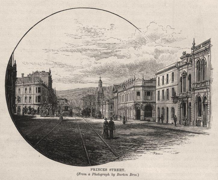 Associate Product Princes Street. Dunedin. New Zealand 1890 old antique vintage print picture