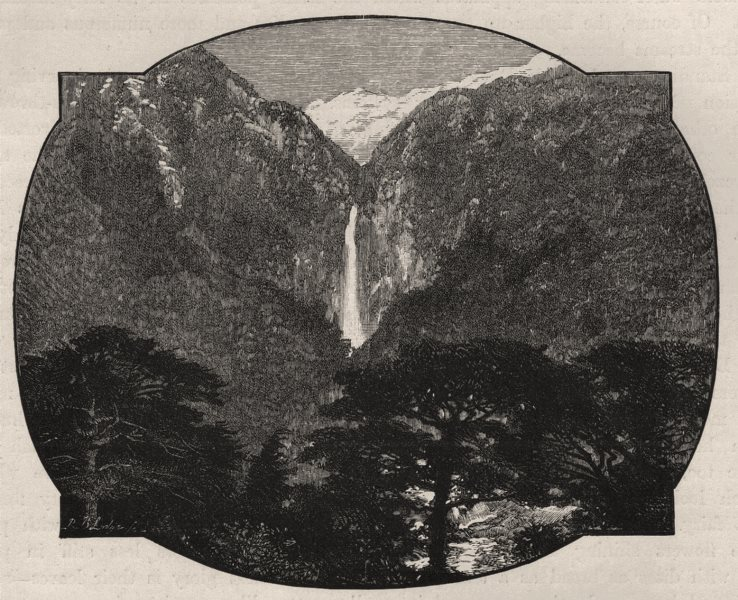 Associate Product The Devil's Punch-bowl, Bealey Gorge. Springfield/West Coast. New Zealand 1890