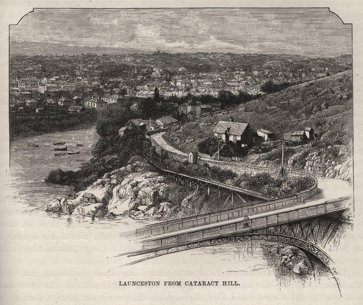 Associate Product Launceston, From Cataract Hill. Launceston. Australia 1890 old antique print