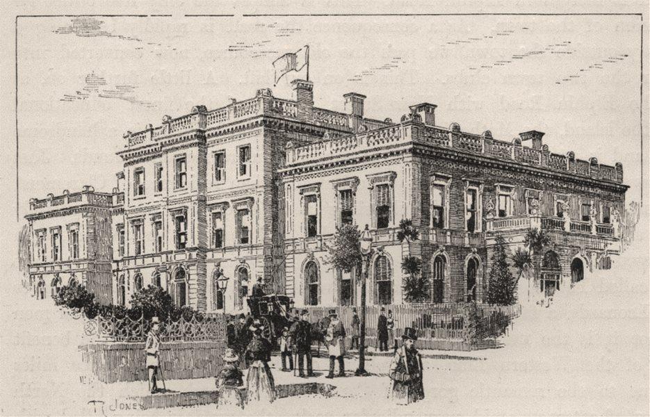 The Public Buildings. Launceston. Australia 1890 old antique print picture