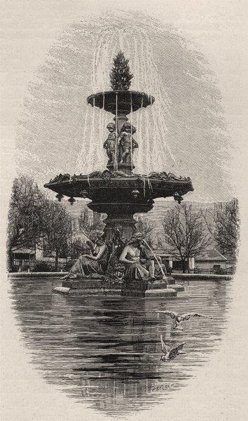 Associate Product Fountain, Princes Square. Launceston. Australia 1890 old antique print picture