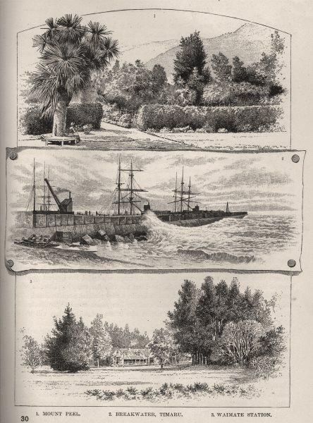 Associate Product Mount Peel; Breakwater, Timaru & Waimate Station. New Zealand 1890 old print