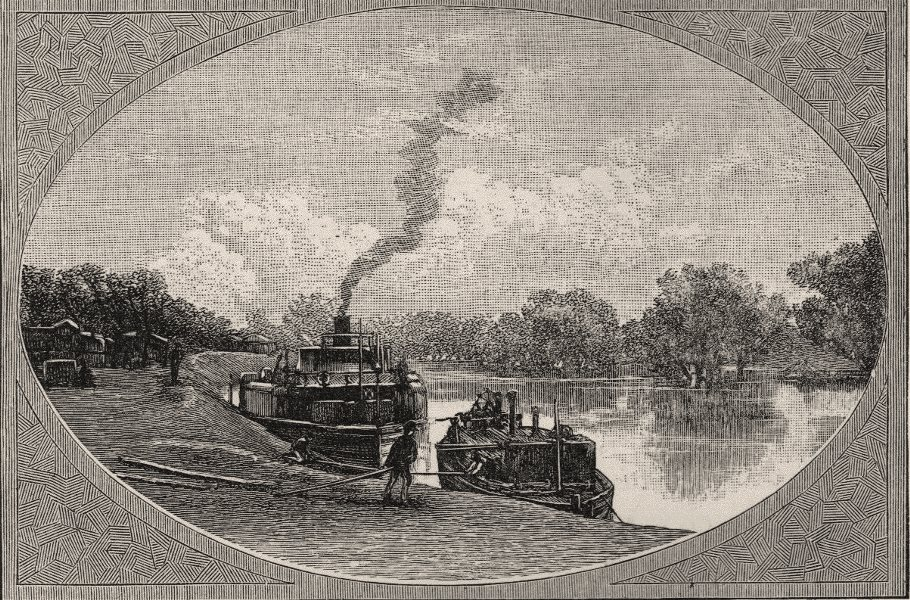 Associate Product The River Darling at Bourke. The Murray river basin. Australia 1890 old print