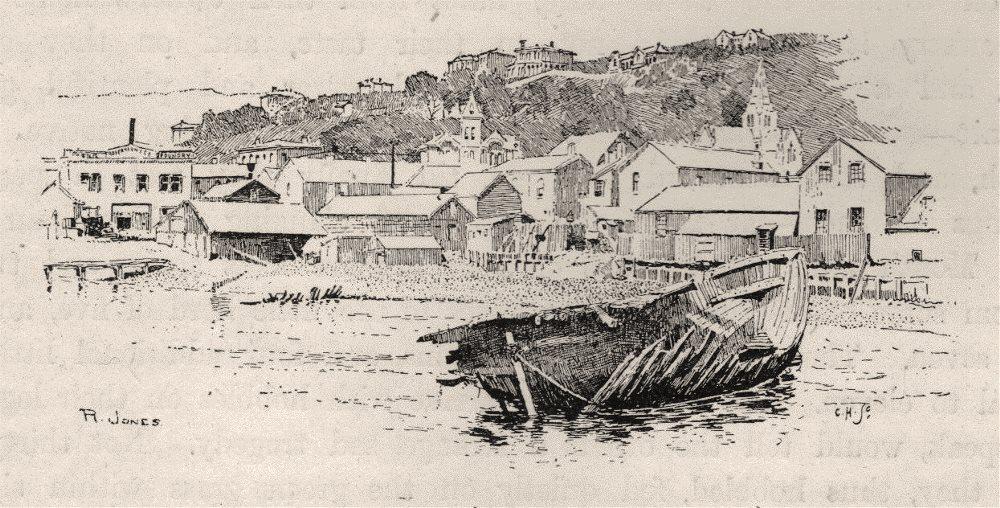 Associate Product Te Aro Foreshore (before Reclamation). Wellington environs. New Zealand 1890
