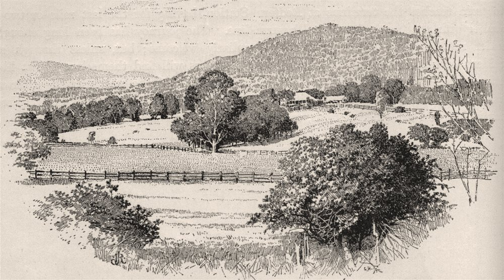Associate Product Glenalvon, the Last Station in the Hunter Valley. Australia 1890 old print