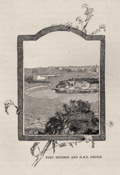 Associate Product Fort Denison and HMS Nelson. Sydney. Australia 1890 old antique print picture
